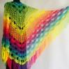 Crochet Shawl Wraps Fringe Mohair Gift brooch Triangular Rainbow Scarf Festival Colorful Knit Wool Multicolor Shawl Lace Warm Boho Evening
