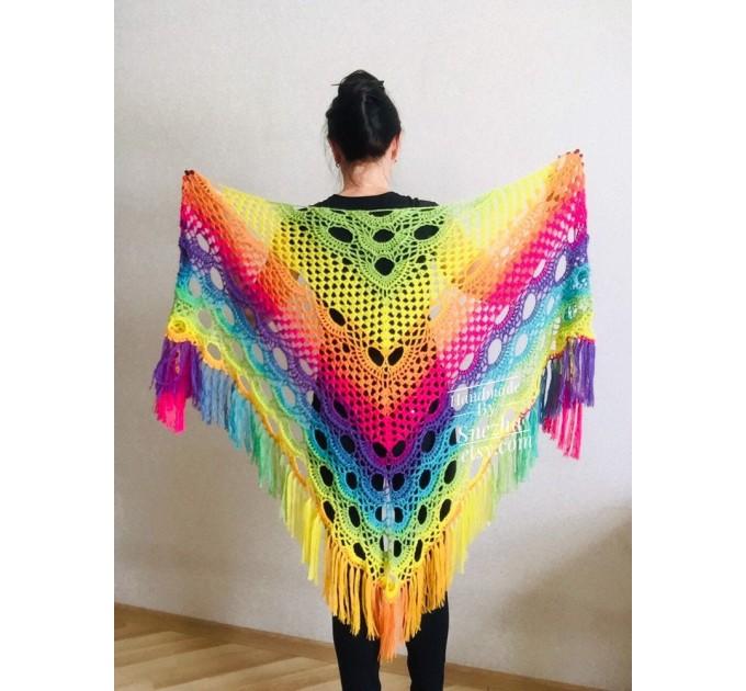 Crochet Shawl Wraps Fringe Mohair Gift brooch Triangular Rainbow Scarf Festival Colorful Knit Wool Multicolor Shawl Lace Warm Boho Evening  Shawl / Wraps  4