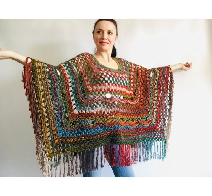 Rainbow Poncho Women Plus size Festival Vegan Pride Granny square Crochet Poncho Triangle Shawl Wraps Fringe