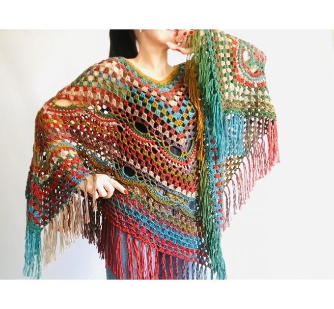 Poncho men women, Prayer shawl Evening cover up, Winter Unisex Vegan poncho Plus size oversize festival clothing, Crochet summer cape Fringe  Poncho  8