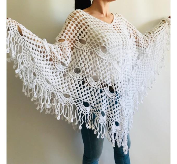 Poncho women, Prayer shawl men meditation Evening cover up Unisex Vegan festival clothing Plus size Crochet summer cape Fringe White Black  Poncho  2