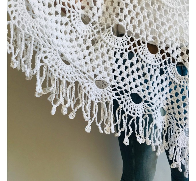 Poncho women, Prayer shawl men meditation Evening cover up Unisex Vegan festival clothing Plus size Crochet summer cape Fringe White Black  Poncho  5