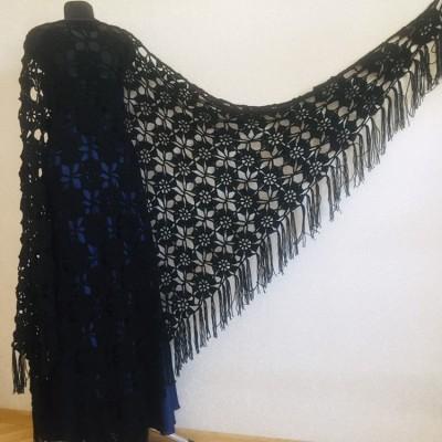 Black lace outlander crochet Shawl Wraps Fringe, White Hand Knit Blue festival Mother of groom gift, Bridesmaid wedding triangle scarf Beige