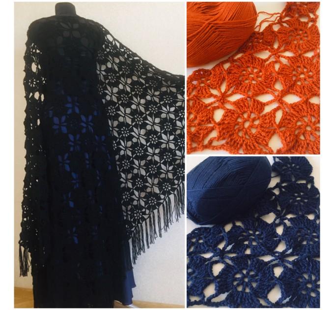 Black lace outlander crochet Shawl Wraps Fringe, White Hand Knit Blue festival Mother of groom gift, Bridesmaid wedding triangle scarf Beige  Shawl / Wraps  2