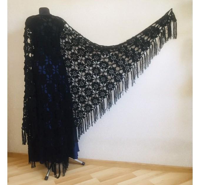 Black lace outlander crochet Shawl Wraps Fringe, White Hand Knit Blue festival Mother of groom gift, Bridesmaid wedding triangle scarf Beige  Shawl / Wraps  3
