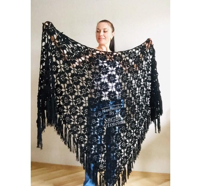 Black lace outlander crochet Shawl Wraps Fringe, White Hand Knit Blue festival Mother of groom gift, Bridesmaid wedding triangle scarf Beige  Shawl / Wraps  4