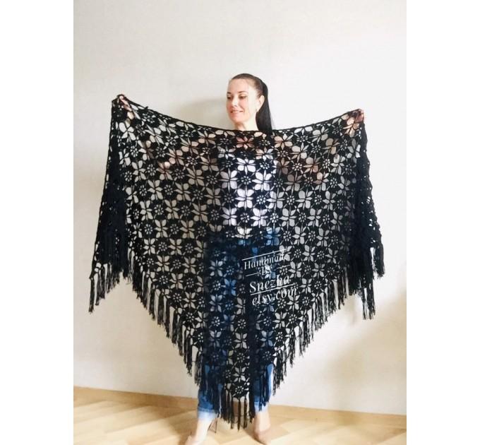 Black lace outlander crochet Shawl Wraps Fringe, White Hand Knit Blue festival Mother of groom gift, Bridesmaid wedding triangle scarf Beige  Shawl / Wraps  5