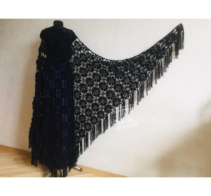 Black lace outlander crochet Shawl Wraps Fringe, White Hand Knit Blue festival Mother of groom gift, Bridesmaid wedding triangle scarf Beige  Shawl / Wraps  6