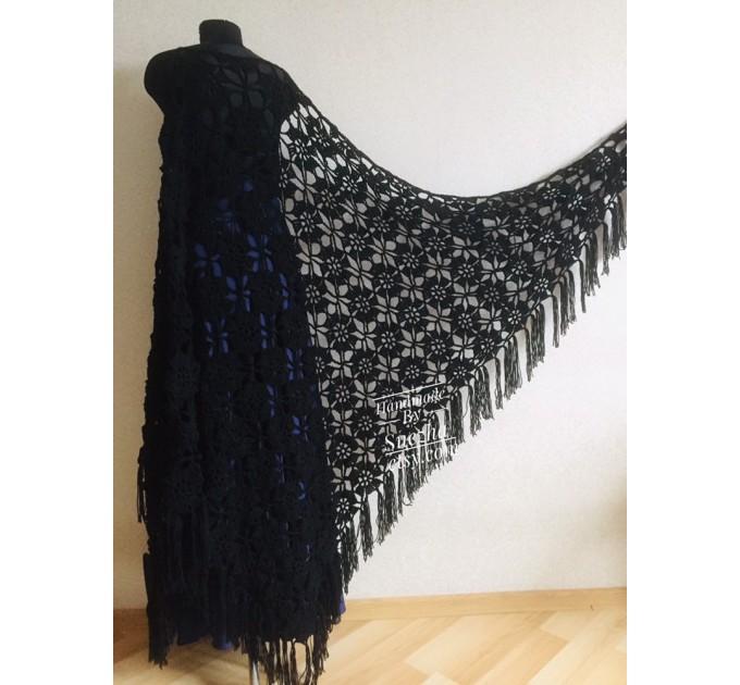 Black lace outlander crochet Shawl Wraps Fringe, White Hand Knit Blue festival Mother of groom gift, Bridesmaid wedding triangle scarf Beige  Shawl / Wraps  7