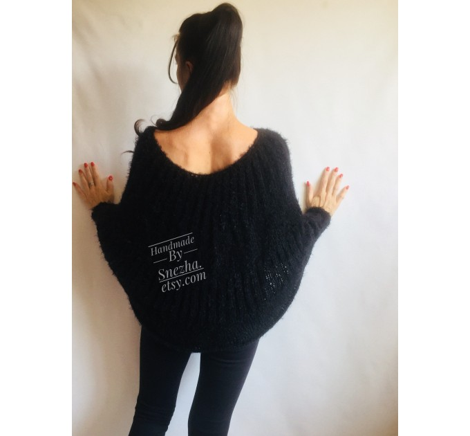 Black Mohair Sweater Women Poncho Plus Size pullover Oversized Fuzzy white poncho navy blue crochet wool hand knitted Sweater Chunky Red  Sweater