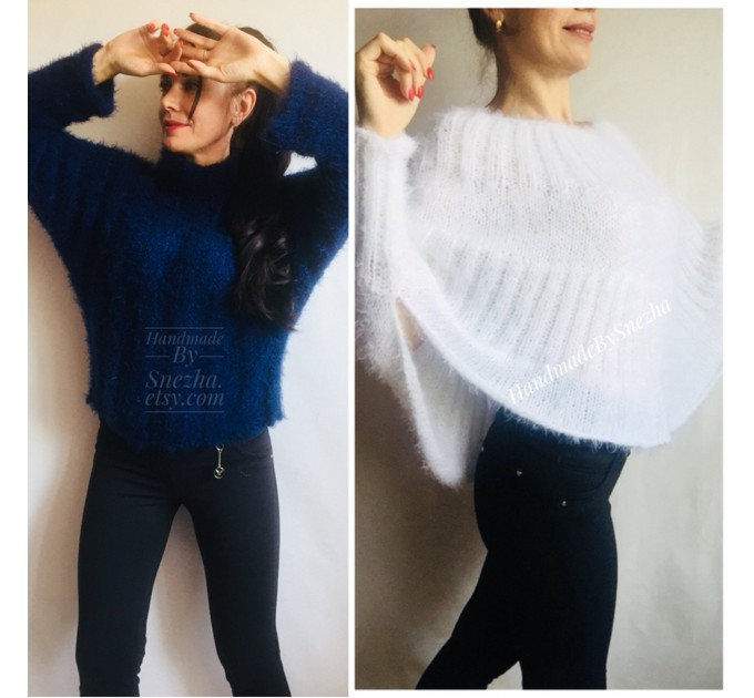 Black Mohair Sweater Women Poncho Plus Size pullover Oversized Fuzzy white poncho navy blue crochet wool hand knitted Sweater Chunky Red  Sweater  2