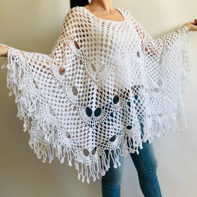 Prayer shawl Poncho women, men meditation Evening cover up Unisex Vegan festival clothing Plus size Crochet summer cape Fringe White Black