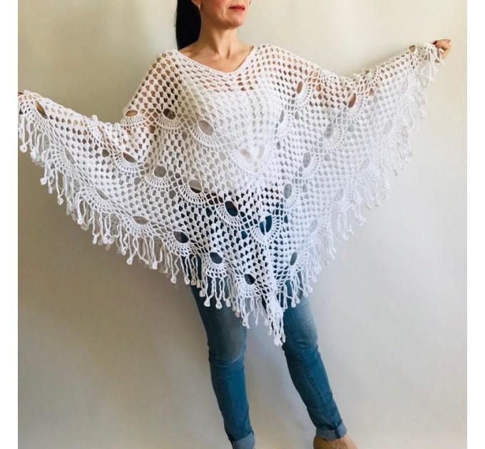 Prayer shawl Poncho women, men meditation Evening cover up Unisex Vegan festival clothing Plus size Crochet summer cape Fringe White Black  Poncho  1