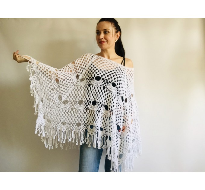 Prayer shawl Poncho women, men meditation Evening cover up Unisex Vegan festival clothing Plus size Crochet summer cape Fringe White Black  Poncho  7