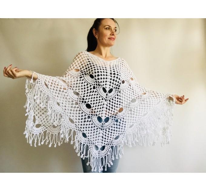 Prayer shawl Poncho women, men meditation Evening cover up Unisex Vegan festival clothing Plus size Crochet summer cape Fringe White Black  Poncho  8