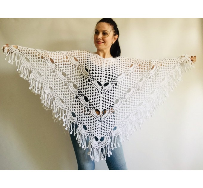 Prayer shawl Poncho women, men meditation Evening cover up Unisex Vegan festival clothing Plus size Crochet summer cape Fringe White Black  Poncho  9