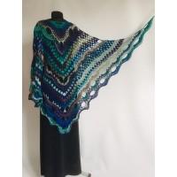 Crochet Shawl Wrap Triangle Boho Scarf Fringe Navy Blue Shawl Big Multicolor Lace Shawl Hand Knitted Evening Shawl Gray Black White Rainbow