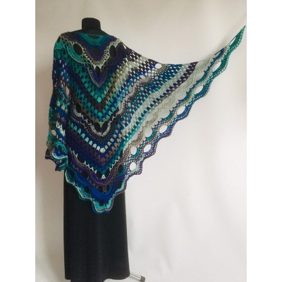 Crochet Shawl Wrap Triangle Boho Scarf Fringe Navy Blue Shawl Big Multicolor Lace Shawl Hand Knitted Evening Shawl Gray Black White Rainbow