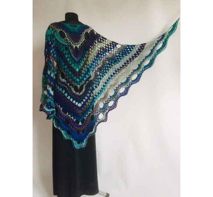 Crochet Shawl Wrap Triangle Boho Scarf Fringe Navy Blue Shawl Big Multicolor Lace Shawl Hand Knitted Evening Shawl Gray Black White Rainbow  Shawl / Wraps