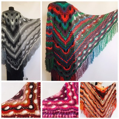 Crochet Shawl Wrap Multicolor Triangle Scarf Boho Colorful Rainbow Shawl Fringe Big Lace Hand Knitted Shawl Evening Shawl Red Blue Green