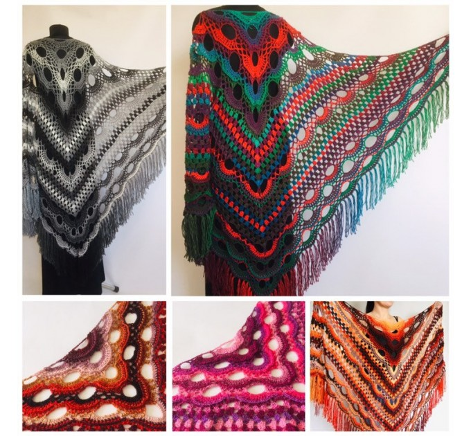 Crochet Shawl Wrap Multicolor Triangle Scarf Boho Colorful Rainbow Shawl Fringe Big Lace Hand Knitted Shawl Evening Shawl Red Blue Green  Shawl / Wraps