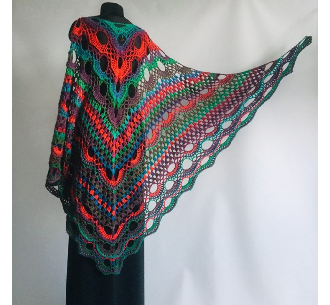 Crochet Shawl Wrap Multicolor Triangle Scarf Boho Colorful Rainbow Shawl Fringe Big Lace Hand Knitted Shawl Evening Shawl Red Blue Green  Shawl / Wraps  10