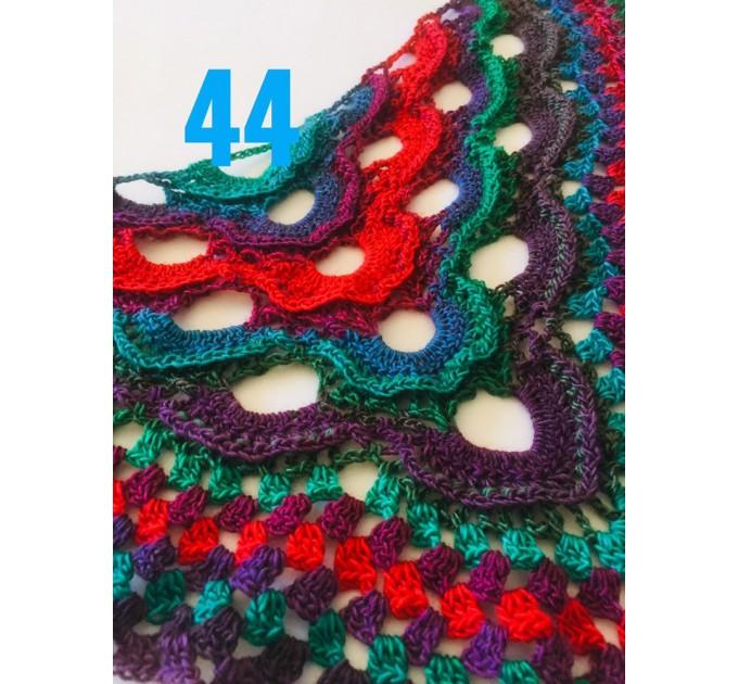 Crochet Shawl Wrap Multicolor Triangle Scarf Boho Colorful Rainbow Shawl Fringe Big Lace Hand Knitted Shawl Evening Shawl Red Blue Green  Shawl / Wraps  6