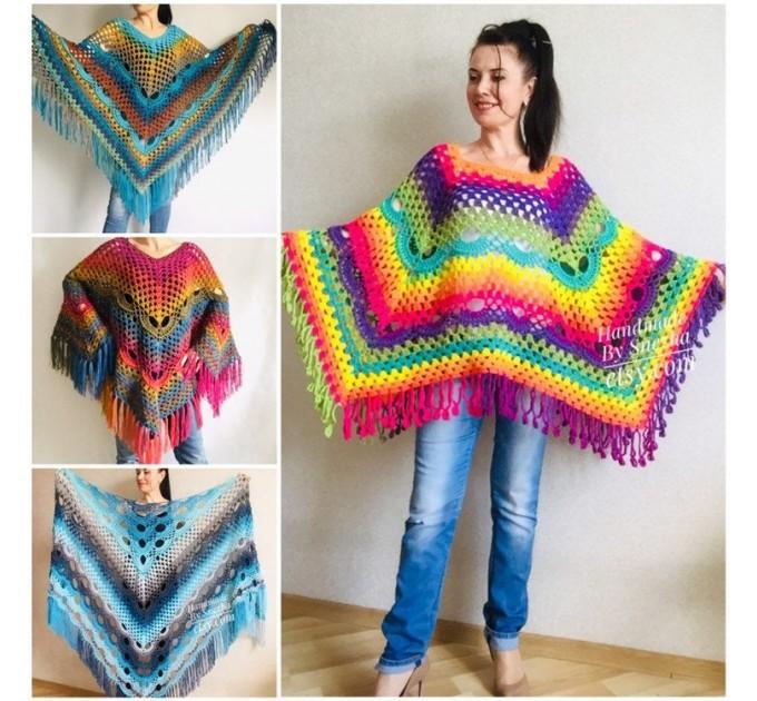 Rainbow Crochet Shawl Fringe, Poncho Women Men OOAK, Outlander Boho Lace Wraps Triangle Warm Scarf Multicolor Hand Knit vegan plus size coat  Shawl / Wraps