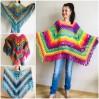 Rainbow Crochet Shawl Fringe, Poncho Women Men OOAK, Outlander Boho Lace Wraps Triangle Warm Scarf Multicolor Hand Knit vegan plus size coat