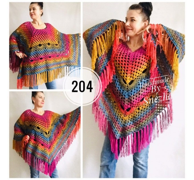 Rainbow Crochet Shawl Fringe, Poncho Women Men OOAK, Outlander Boho Lace Wraps Triangle Warm Scarf Multicolor Hand Knit vegan plus size coat  Shawl / Wraps  10
