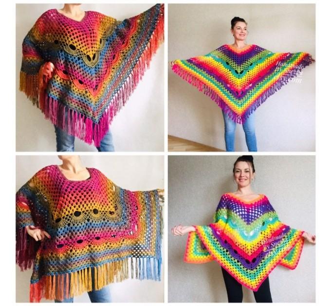 Rainbow Crochet Shawl Fringe, Poncho Women Men OOAK, Outlander Boho Lace Wraps Triangle Warm Scarf Multicolor Hand Knit vegan plus size coat  Shawl / Wraps  8