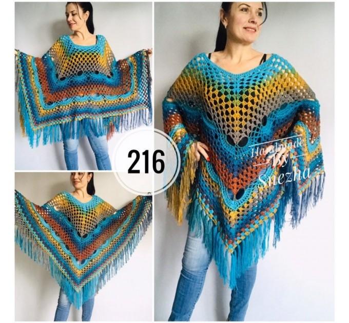 Rainbow Crochet Shawl Fringe, Poncho Women Men OOAK, Outlander Boho Lace Wraps Triangle Warm Scarf Multicolor Hand Knit vegan plus size coat  Shawl / Wraps  9