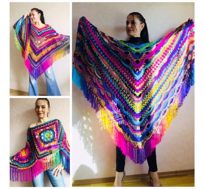Rainbow Crochet Shawl Poncho Women Plus Size Hand Knitted Vegan Triangular Multicolor outlander Shawl Wraps Fringe Lace Warm Boho Evening  Shawl / Wraps  2