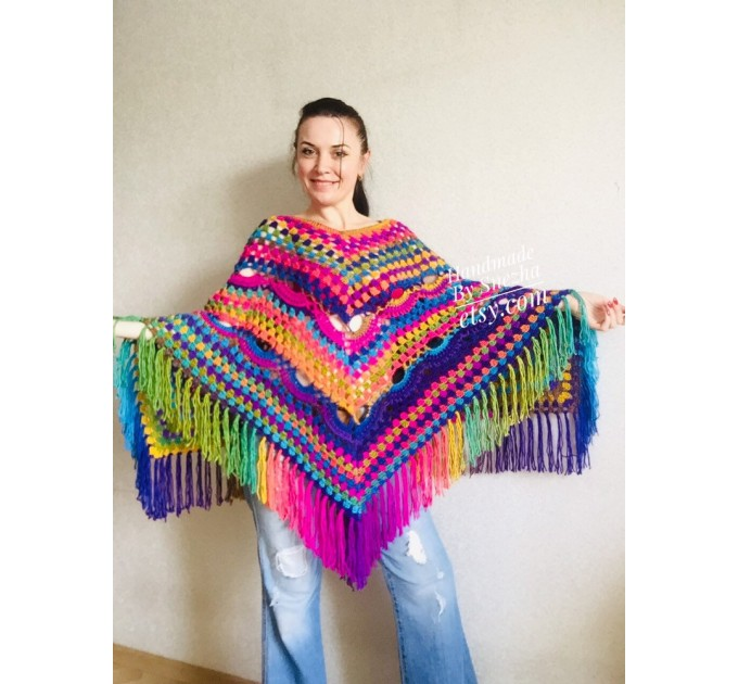 Rainbow Crochet Shawl Poncho Women Plus Size Hand Knitted Vegan Triangular Multicolor outlander Shawl Wraps Fringe Lace Warm Boho Evening  Shawl / Wraps  7