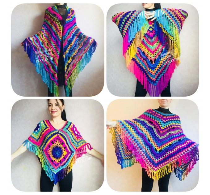 Rainbow Crochet Shawl Poncho Women Plus Size Hand Knitted Vegan Triangular Multicolor outlander Shawl Wraps Fringe Lace Warm Boho Evening  Shawl / Wraps  9