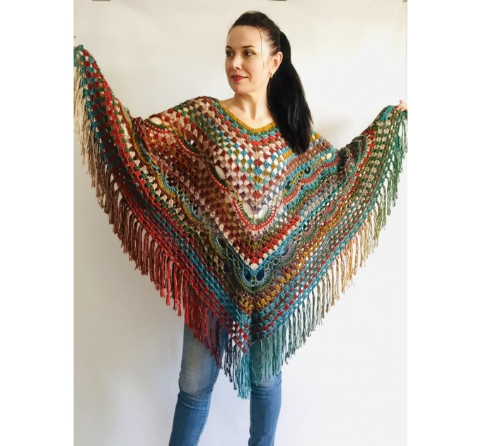 Multicolored Poncho, Boho Poncho, Evening cover up, Unisex Vegan Acrylic poncho Plus size oversize hippie knit poncho, Crochet Woman Poncho  Poncho  2