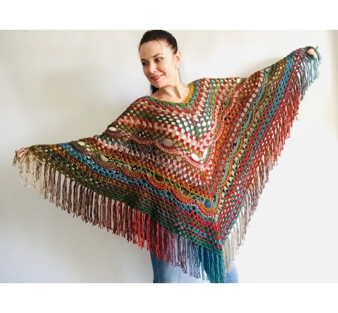 Multicolored Poncho, Boho Poncho, Evening cover up, Unisex Vegan Acrylic poncho Plus size oversize hippie knit poncho, Crochet Woman Poncho  Poncho  4