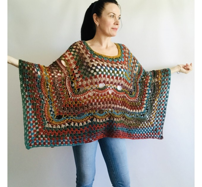 Multicolored Poncho, Boho Poncho, Evening cover up, Unisex Vegan Acrylic poncho Plus size oversize hippie knit poncho, Crochet Woman Poncho  Poncho  6