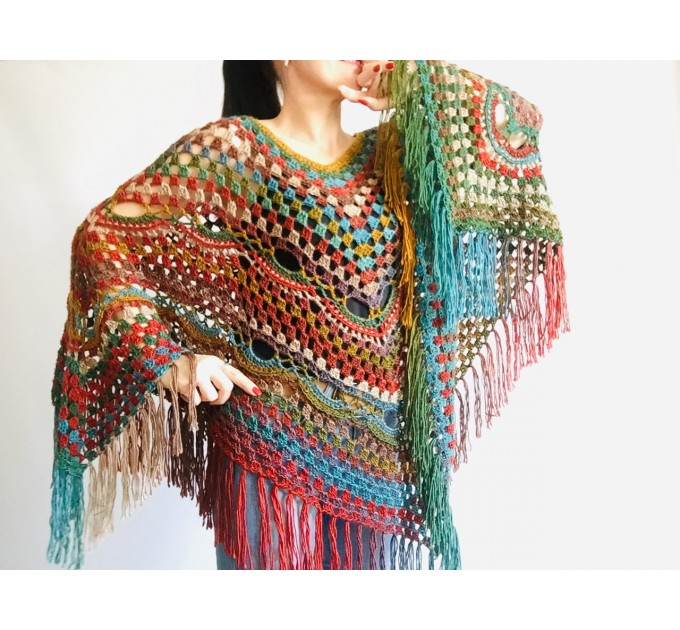 Multicolored Poncho, Boho Poncho, Evening cover up, Unisex Vegan Acrylic poncho Plus size oversize hippie knit poncho, Crochet Woman Poncho  Poncho  8