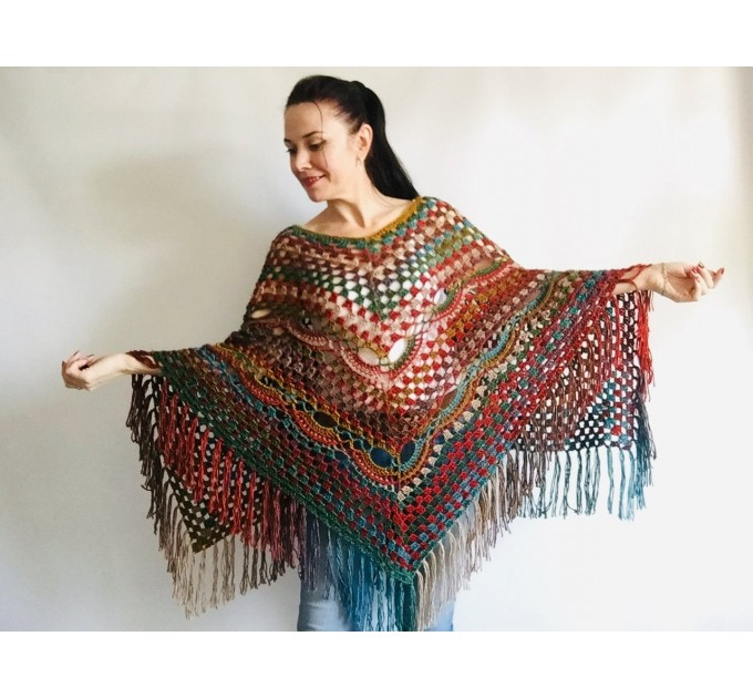 Multicolored Poncho, Boho Poncho, Evening cover up, Unisex Vegan Acrylic poncho Plus size oversize hippie knit poncho, Crochet Woman Poncho  Poncho  9