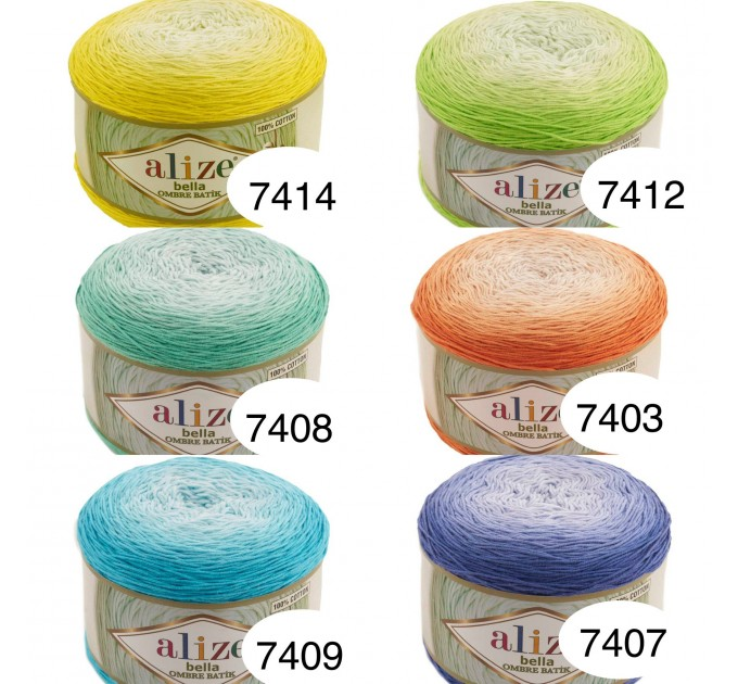 Alize BELLA OMBRE BATIK Yarn 250 gr 100 Organic Cotton Yarn knitting yarn, Crochet vegan yarn Soft Gradient yarn Summer Baby amigurumi yarn  Yarn  3