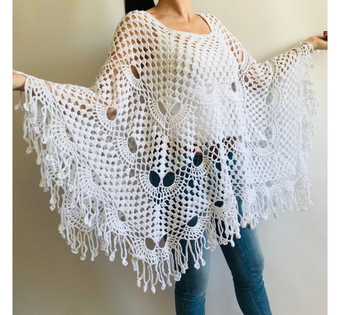 Crochet Poncho Handmade gift, White Spring poncho, Plus Sizes Vegan festival clothing, Cotton Women's Poncho, Gift for Sister, Mother's Day  Poncho  5