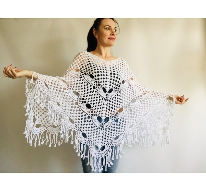Crochet Poncho Handmade gift, White Spring poncho, Plus Sizes Vegan festival clothing, Cotton Women's Poncho, Gift for Sister, Mother's Day  Poncho  4