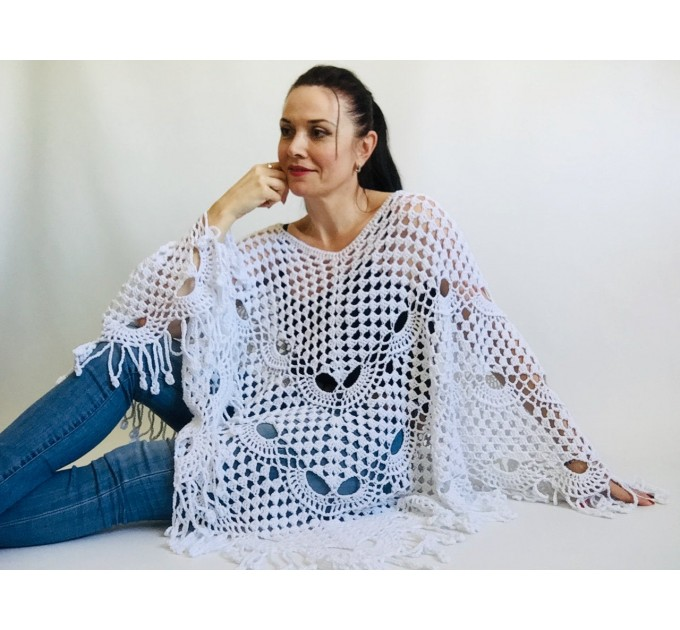 Crochet Poncho Handmade gift, White Spring poncho, Plus Sizes Vegan festival clothing, Cotton Women's Poncho, Gift for Sister, Mother's Day  Poncho  3