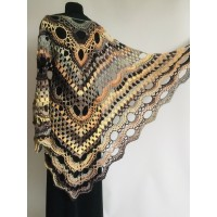 Crochet Shawl Fringe, Hand Knitted lace triangle Granny Square Outlander Wraps Evening festival Scarf Multicolor Beige Brown Gray Black Blue