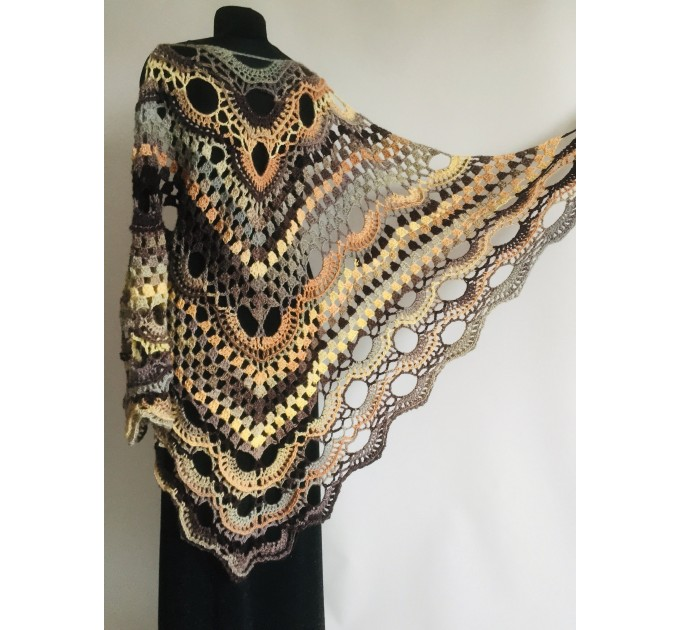Crochet Shawl Fringe, Hand Knitted lace triangle Granny Square Outlander Wraps Evening festival Scarf Multicolor Beige Brown Gray Black Blue  Shawl / Wraps  4