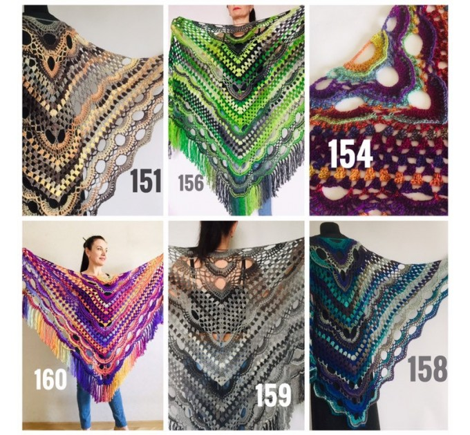 Crochet Shawl Fringe, Hand Knitted lace triangle Granny Square Outlander Wraps Evening festival Scarf Multicolor Beige Brown Gray Black Blue  Shawl / Wraps  3