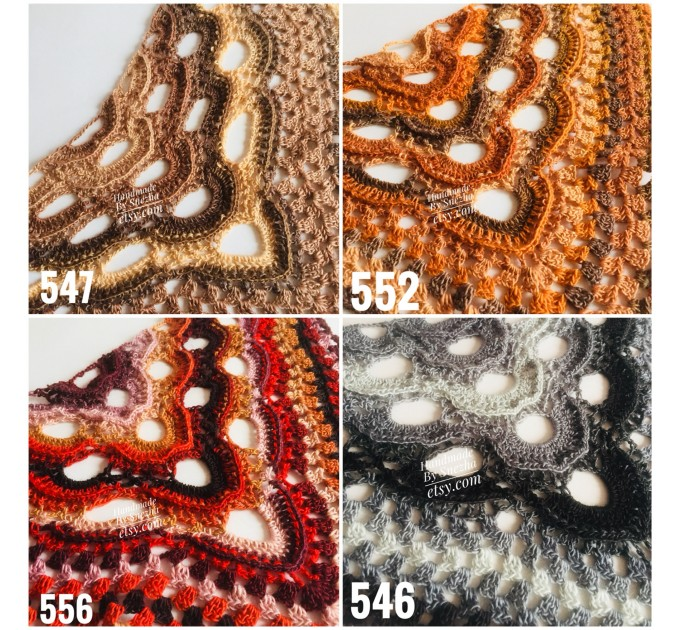 Crochet Shawl Fringe, Hand Knitted lace triangle Granny Square Outlander Wraps Evening festival Scarf Multicolor Beige Brown Gray Black Blue  Shawl / Wraps  1