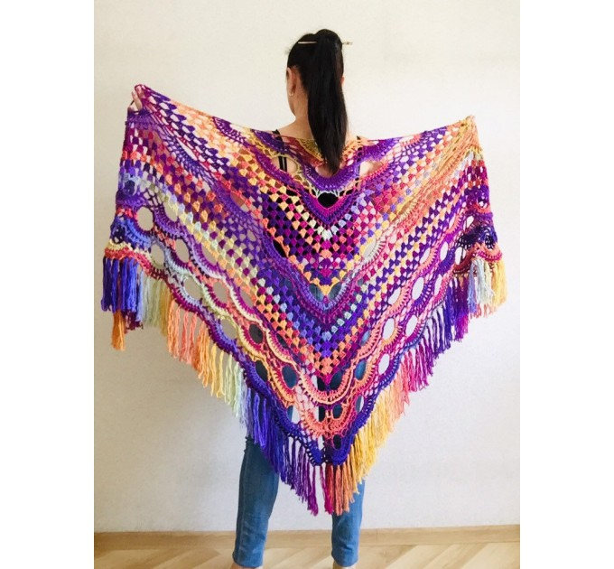 Crochet Shawl Fringe, Hand Knitted lace triangle Granny Square Outlander Wraps Evening festival Scarf Multicolor Beige Brown Gray Black Blue  Shawl / Wraps  5
