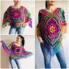 Poncho Women, Plus size Festival boho clothing, Crochet Triangle Shawl Wraps Fringe, Vegan Poncho Men Pride Hand Knit gypsy Mom Gift Rainbow